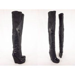 RICK OWENS New 38 8 Black Ruhlmann Knee High Boots
